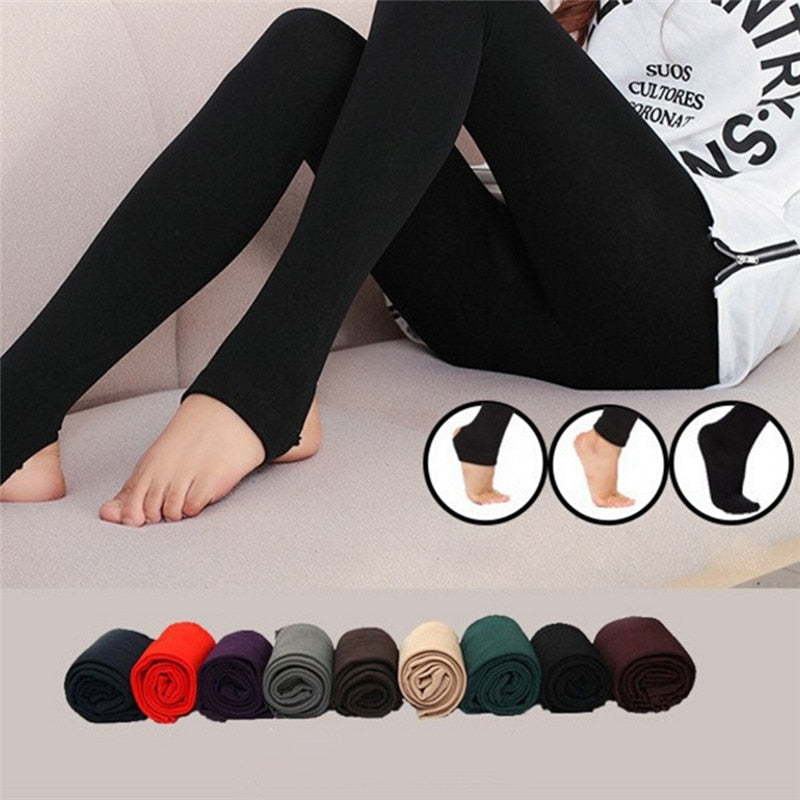 Women's Autumn Winter Thick Warm Legging Trample Feet Leggings Female Solid Color Leggings Brushed Lining Stretch Fleece Pants-geekbuyig