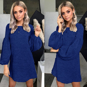 2018 New Winter Women Sweater Dresses Causal Loose Knitted Pullover Autumn Long-sleeved Dresses Thick Warm-geekbuyig