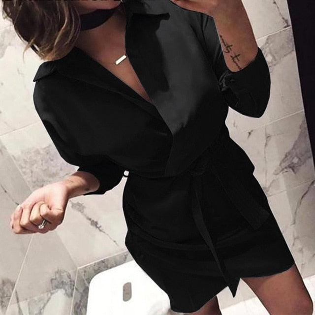 Women's New Fashion Long Sleeve Autumn Casual knotted Dress Elegant Black Dresses Womens Ladies Dress vestidos verano 2018 S!80-geekbuyig