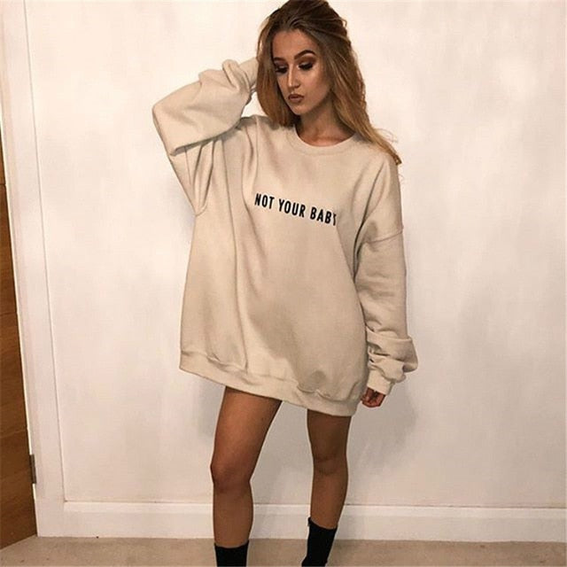 2018 New Plus Size Letter Print Hoodies Loose Harajuku Khaki Pullovers Long Sleeve O Neck Long Sweatshirts Casual Streetwear-geekbuyig