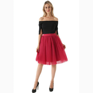 5 Layers 60cm Midi Tulle Skirt Princess Womens Adult Tutu Fashion Clothing Faldas Saia Femininas Jupe Summer Style-geekbuyig