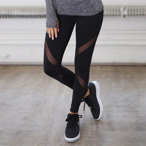 Sexy Women Leggings Gothic Insert Mesh Design Trousers Pants Big Size Black Capris Sportswear New Fitness Leggings-geekbuyig