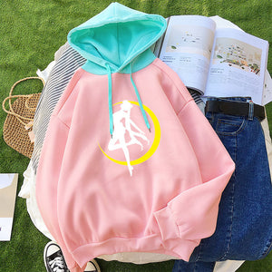 2018 Hoodies Women Casual Lady Fleece Sweatshirt Long Sleeve Loose Autumn Winter Harajuku Kawaii Cartoon Sailor Moon Cute Hooded-geekbuyig