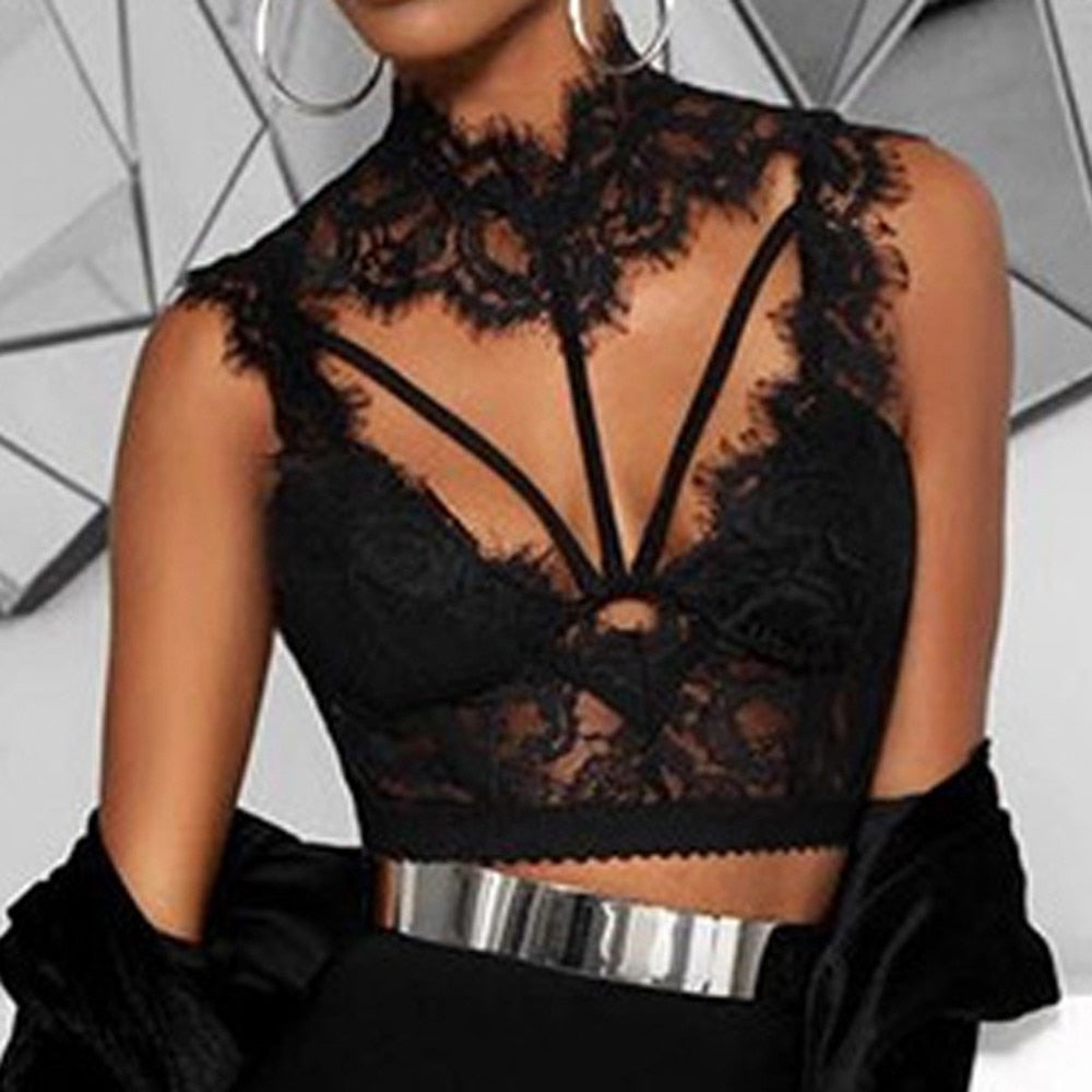 S-L Colors Women Fashion Lace Tops V-Neck Sexy Vest Sleeveless Hollow Out Tank Top Hot Lady Woman Tops camiseta tirantes mujer-geekbuyig
