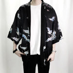 Crane Print Shirts Summer Fashion Men Hip Hop Streetwear Casual Shirts US Size S-XXXL-geekbuyig