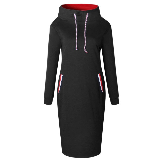 Autumn Winter Women Sexy Pencil Dress Casual Full Sleeve Hooded Drawstring Pullover Female Slim Bodycon Dresses Vestidos Red-geekbuyig