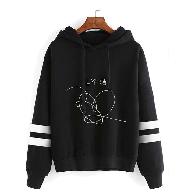 New Fashion Striped Kpop Clothes BTS Bangtan Boys Love Yourself Answer Pullovers Sweatshirts Women Hip Hop Streetwear Hoodie-geekbuyig