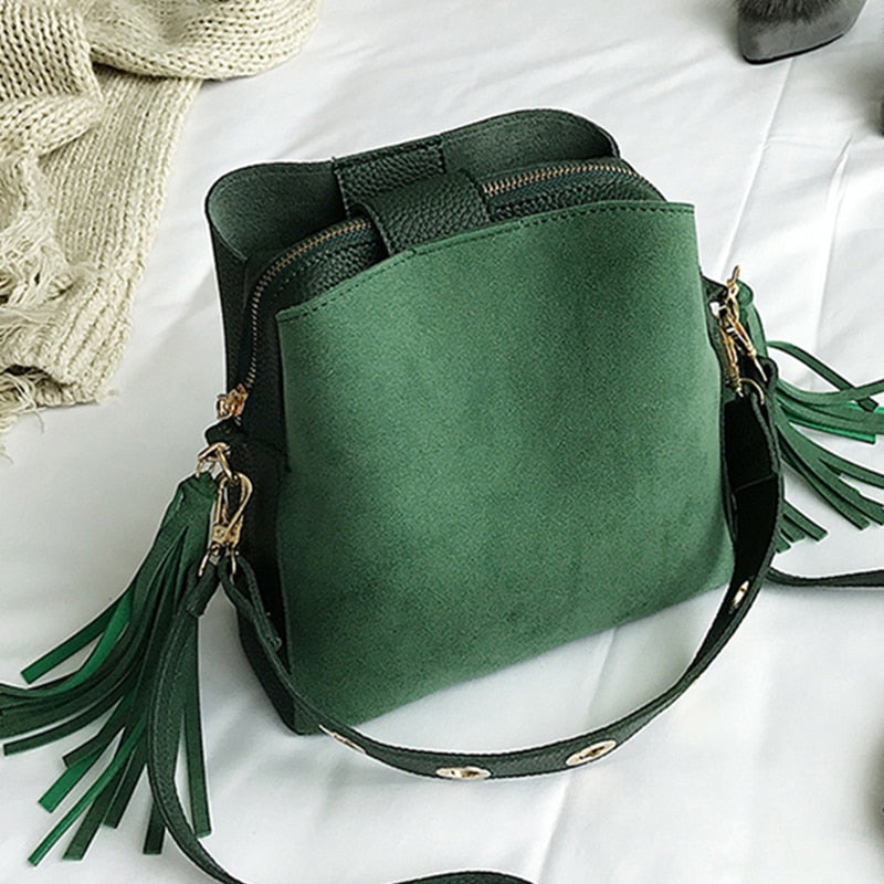 2018 Fashion Scrub Women Bucket Bag Vintage Tassel Messenger Bag High Quality Retro Shoulder Bag Simple Crossbody Bag Tote-geekbuyig