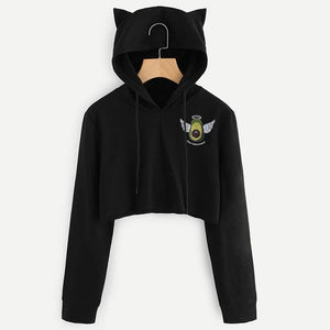 Autumn Women Sweatshirt Unicorn Long Sleeve Cropped Hoodies Cat Ear Hooded Pullover Hoodie Crop Tops Winter Cropped Sweatshirt-geekbuyig