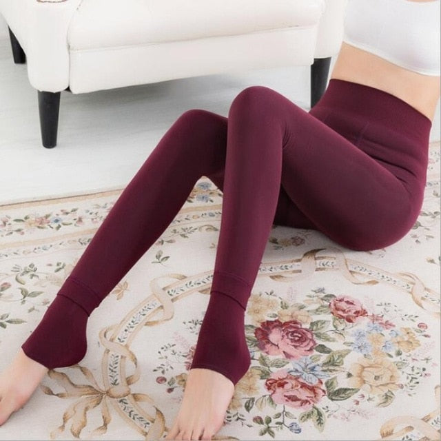 2018 Winter Women black Fleece Warm Pants Thicken Thin High Waist Cotton Fleece Pencil Pants Female Fall Gray Red Trousers-geekbuyig