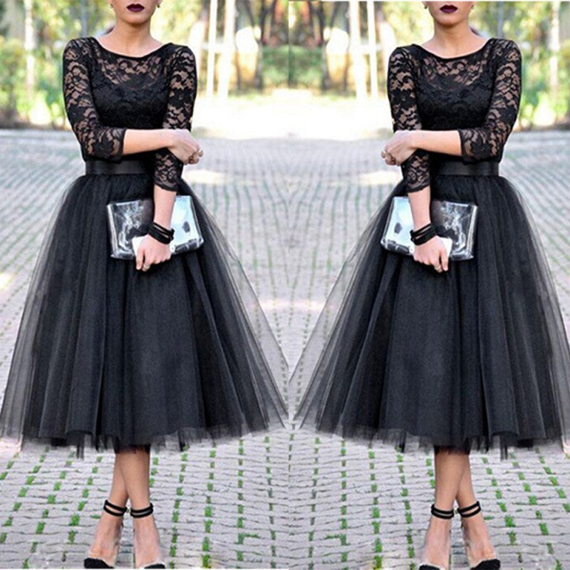 Fashion Lace Patchwork Ball Gown Dress Women Tulle Tutu Mid-Calf Dresses Elegant Party O-neck High Waist Vestidos summer dress-geekbuyig