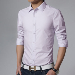 New 2018 Men's Pure Cotton Shirt Slim Fit Fashion Long Sleeve Casual Business Shirts Men Dress Shirts High Quality Camisas-geekbuyig