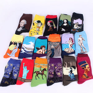 The cheapest art cotton print socks men funny casual combed cotton novelty funny crazy fancy socks dress Christmas gift sokken-geekbuyig