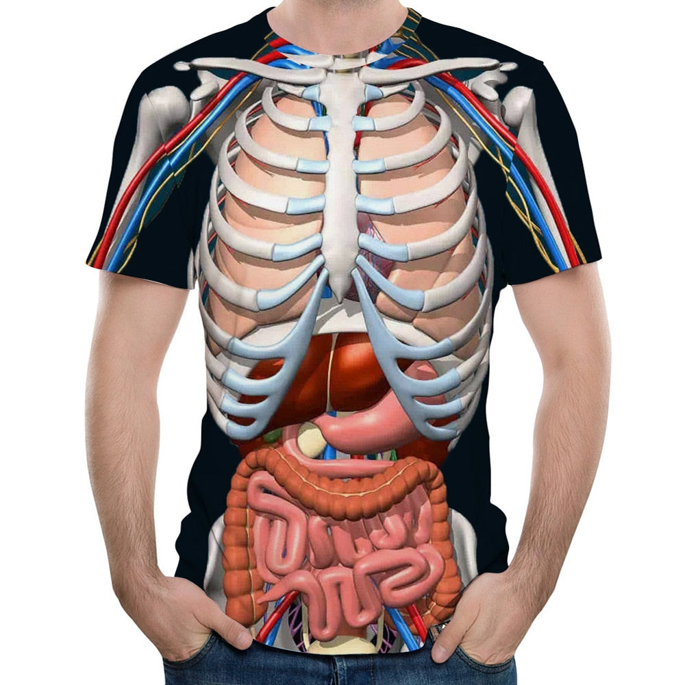 2018 New Fashion Male Skeleton Internal Organs 3D Printed Round Neck Short-Sleeved T-Shirt Anime Funny Halloween Men T Shirt-geekbuyig