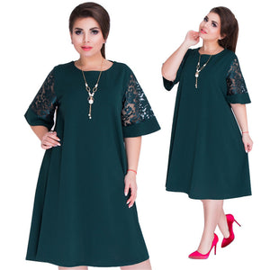 6XL Plus Size Vestidos festa Summer Autumn Dresses Women Red Green Loose Midi Dress Party Stitching Lace Sleeve Dress Big Sizes-geekbuyig