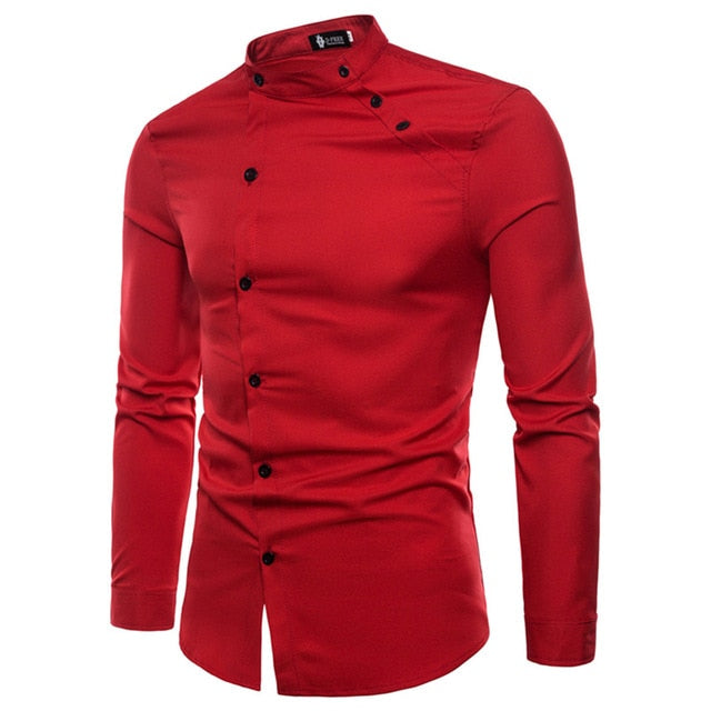 XMY3DWX New fashion male autumn High-grade pure cotton slim Fit Business shirts/men Stand collar Casual long sleeve shirts-geekbuyig