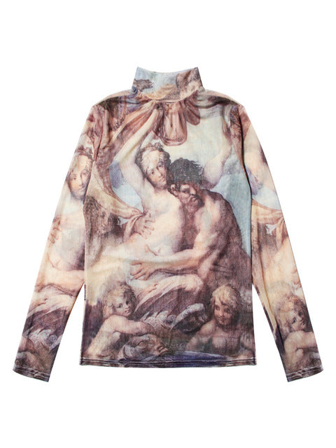 OLOEY2018 New Turtleneck Full sleeve Tattoo Half Perspective Canvas Oil Painting Clothing Wild Slim Sexy Retro T-shirt Tops H827-geekbuyig