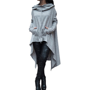 Irregular Women Hoodies Sweatshirts 2018 Autumn Long Sleeve Pockets Hoodie Harajuku Casual Solid Long Pullovers Plus Size S-5XL-geekbuyig