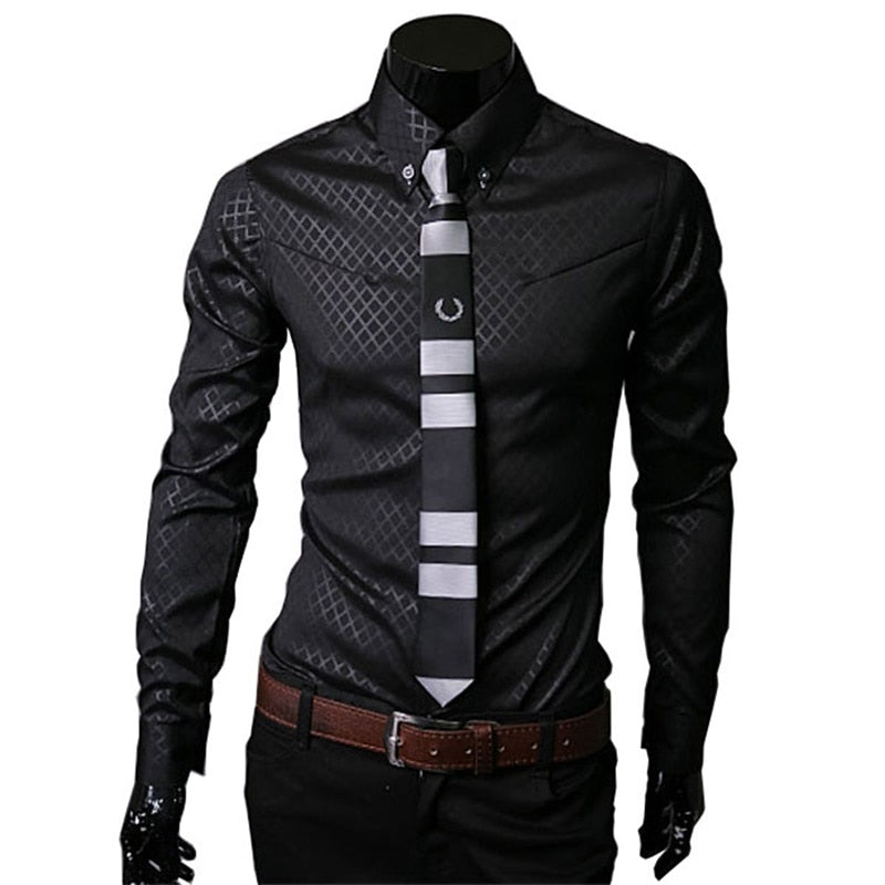 Brand 2017 fashion male shirts plaid slim fit male shirt solid long-sleeves tops chemise red men's dress shirt high quality 5xl-geekbuyig
