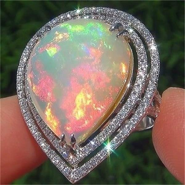 Bamos Unique Boho Big Water Drop Ring Vintage White Fire Opal Stone Ring Fashion Wedding Engagement Rings For Men And Women-geekbuyig