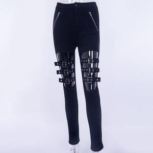 Balck Punk Women Pants Female Trousers Buckle Hollow Out Skinny Pencil Pants Fashion Leggings-geekbuyig