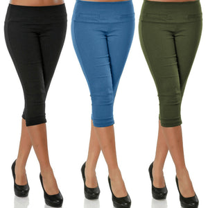 4XL Plus Size Women 3/4 Length Skinny Pants Ladies Casual Cropped Stretch Legging Trousers Capris For Women Elastic Pencil Pants-geekbuyig