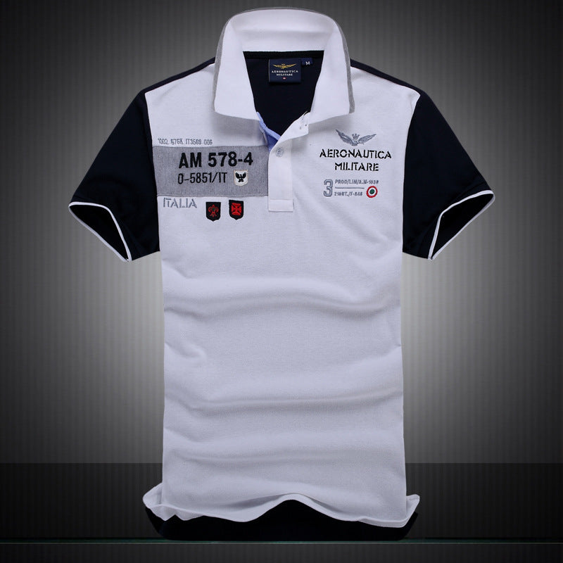 new summer autumn Air Force One men's boutique embroidery Aeronautica Militare lapel polo shirt men's Business cotton polo shirt-geekbuyig