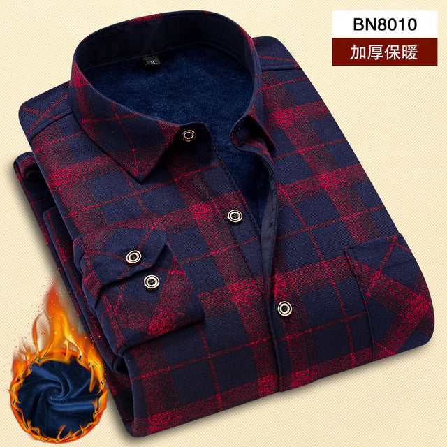 New Quality Winter Warm Plaid Casual men shirt Long sleeves Shirts Mens Fashion Thick Flannel Shirt camisa masculina-geekbuyig