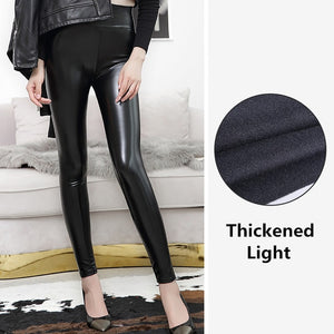 2017 New Winter Thickened Leggings Skinny Pants Women Black Leather Warm PU Pants waist high trousers High Quality Big Size-geekbuyig