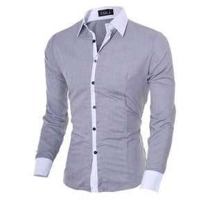 Wholesale Men Shirt Long Sleeve Tops 2018 Fashion Solid Casual Shirt Slim Fit Plain Men Clothes White Black Grey-geekbuyig