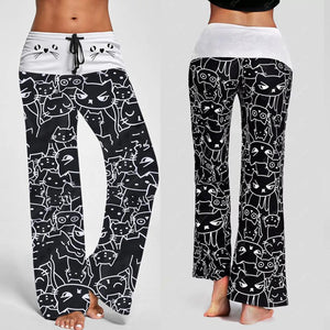 Woman jeans 2018 Women Casual New Fashion Cat Prints Drawstring Pants Leggings 7.13-geekbuyig
