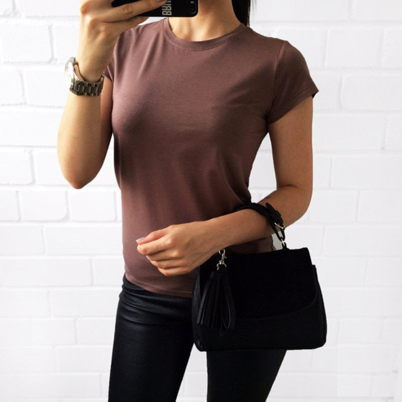 2018 Female All-Match Solid Color Short-Sleeve Women T-Shirt White Black Grey Green Basic TShirt-geekbuyig
