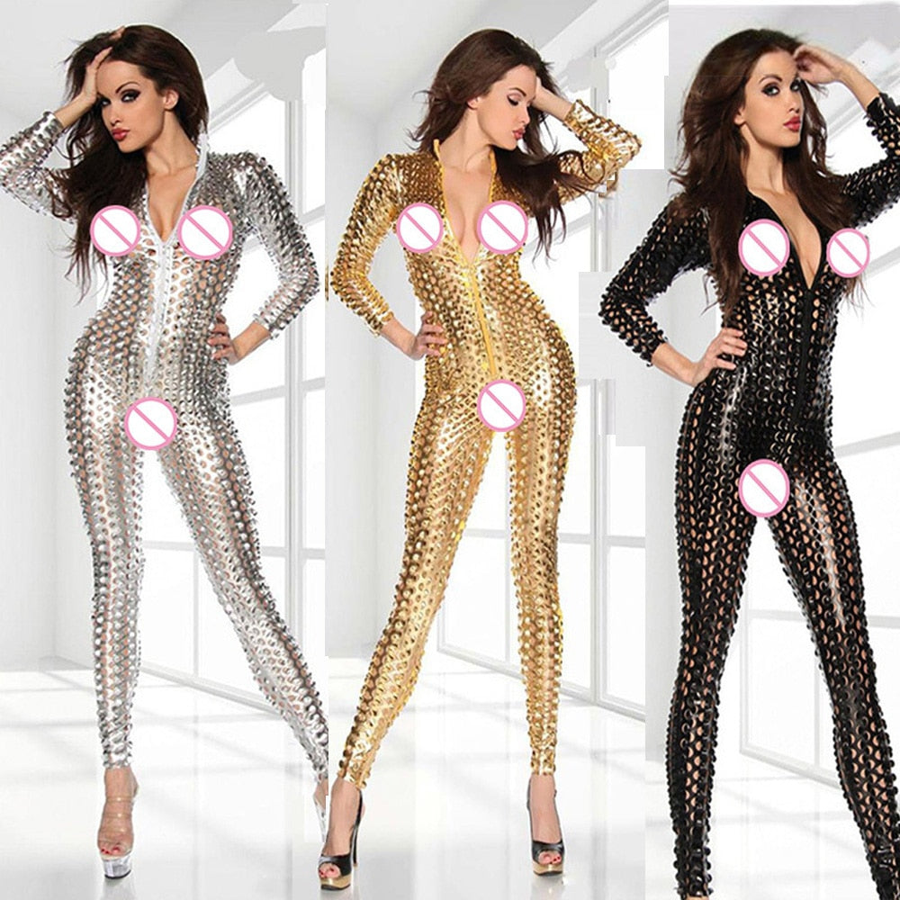 Club Jumpsuits Gold Black Sliver Women Jumpsuit Bodysuit Wholesale Price Sexy Vinyl Women Hollow Out Catsuit Wetlook Jumpsuit-geekbuyig