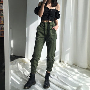 High waist pants loose joggers women army harem camo pants streetwear punk black cargo pants women capris trousers-geekbuyig