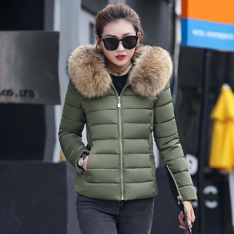 2018 Winter Jacket women Plus Size Womens Parkas Thicken Outerwear solid hooded Coats Short Female Slim Cotton padded basic tops-geekbuyig