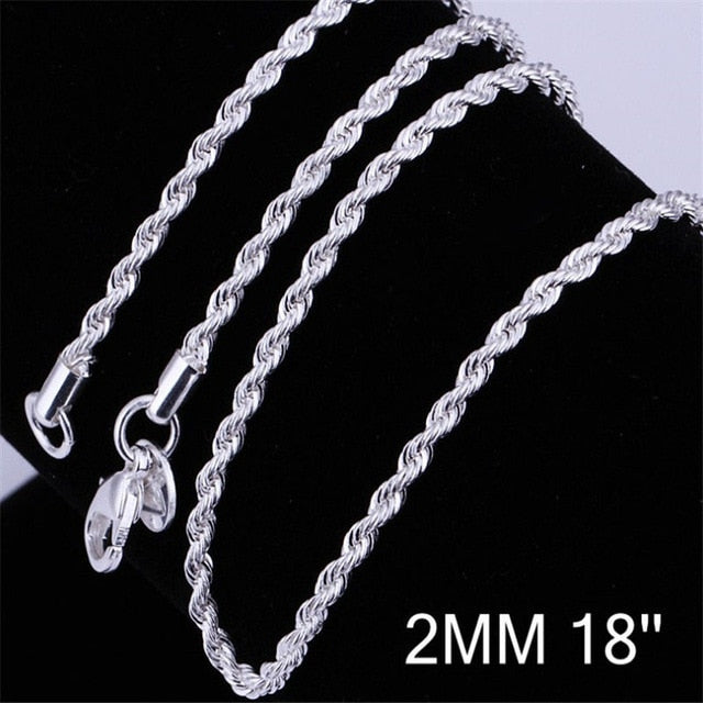 Hot sale Retail Wholesale silver Necklace Women Man necklace 2mm16,18,20,22,24 inch Twist Rope Chain jewelry accesory 925 stamp-geekbuyig