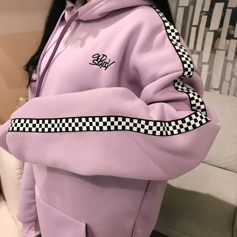 2018 Spring Autumn Korean Women'S Fashion Long Pullover Plus Velvet Checkered Embroidery Letters Hoodies Top Plaid Sweatshirt-geekbuyig