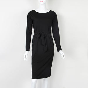 Autumn Winter Women Dress Plus Size 2XL Solid Long Sleeve Knee-Length Casual Dresses Sexy Bandage Bodycon Dress Robe Femme GV918-geekbuyig