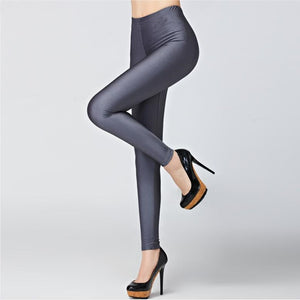 Hot Sale 2018 Candy Colors Fashion Fluorescent Leggings 20 Solid Color Women Shiny Leggins Plus Size Female Casual Pants Legging-geekbuyig