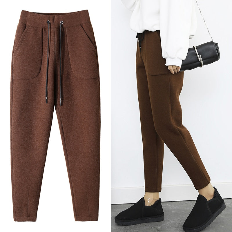 2018 Autumn Winter Pants Warm Women Ankle Length Woolen Pant Thick High Waist Trousers Loose Work Casual Solid Wear Harem Pants-geekbuyig
