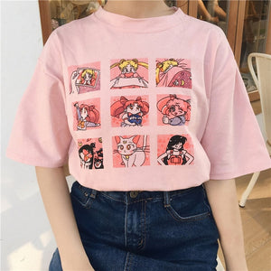 Kawaii T Shirt Summer Women Tops 2018 Harajuku Sweet Print Sailor Moon Loose Short Sleeve Plus Size Tee Shirt Femme +-geekbuyig