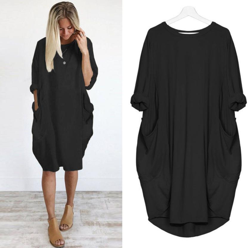 Feitong Plus Size Boho Womens Dress Ladies Casual Pocket Loose Dress Crew Neck Mini Tops Dress female vestidos verano 2018 New-geekbuyig