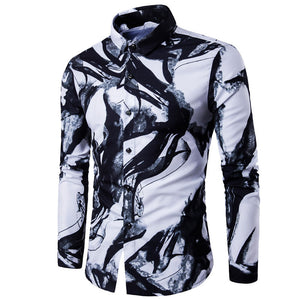 Dropshopping Men Shirt Luxury Brand Long Sleeve Tops 2018 Fashion Ink Printed Slim fit Casual Shirt China Style Men Clothes-geekbuyig
