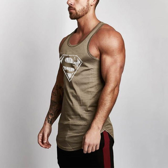 Bodybuilding Superman Brand Mesh Tank Top Men Stringer Tank Top Fitness Singlet Sleeveless Shirt Workout Man Undershirt Clothing-geekbuyig