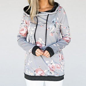 Drawstring Floral Printed Hooded Tracksuit Women Autumn Hoodies 2018 Spring Sweatshirts Long Sleeve Plus Size Pockets Tops GV920-geekbuyig