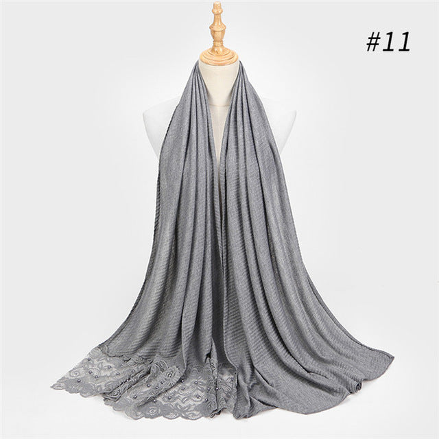 2018 new scarf France plain pleated shawl pearl edges hijab wrinkle muslim solid scarfs long muffler fashion scarves 14 colors-geekbuyig