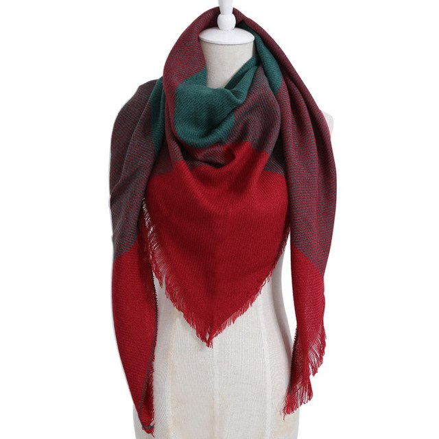 2018 Winter Scarf new Color Designer Brand Top quality Cashmere Plaid Triangle Blanket Scarf Shawl For Woman Dropshipping-geekbuyig