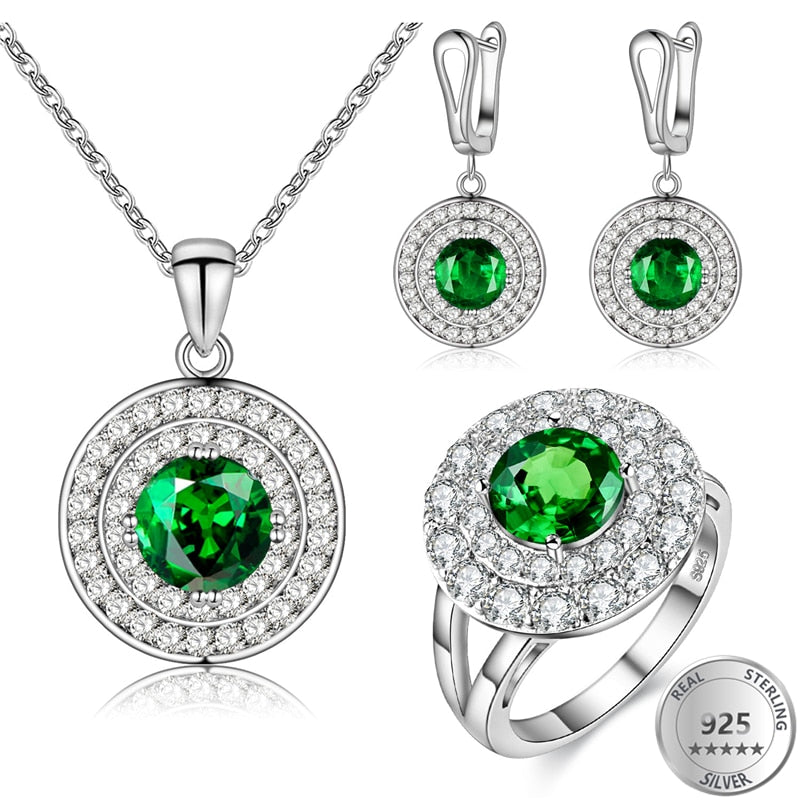 808 STORE 3PCS Luxury Women Wedding Round Earrings Crystal Pendant Necklace Ring Bridal Fine Jewelry Sets 925 Silver Jewelry-geekbuyig