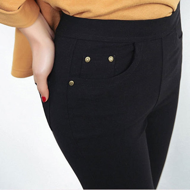 Free Shipping 2018 New Autumn Fashion Pencil Jeans Woman Candy Colored Mid Waist Full Length Zipper Slim Fit Skinny Women Pants-geekbuyig
