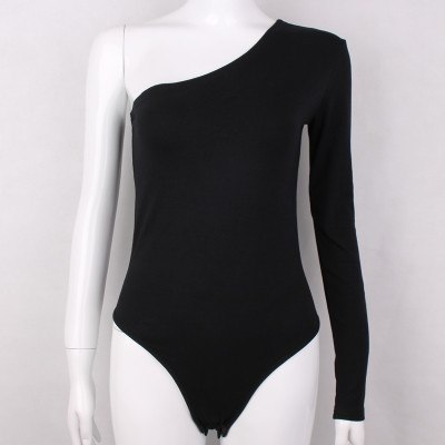Moirlicer cotton one shoulder slope neckline bodysuit single long sleeve autumn Women sexy black solid swimsuit female-geekbuyig